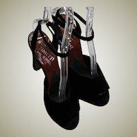 Beautiful Black Suede Leather Slide Heals