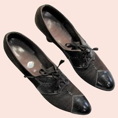 Designer Style 1920's-1930's Brown Leather Shoes