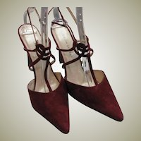 Beautiful Colin Stuart Wine Colored Suede Leather Heels