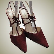 Beautiful Colin Stuart Wine Colored Suede Leather Heels