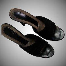 Black Leather Suede High Heel Slides