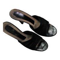 Black Open Back 1970's Suede/Leather Heels