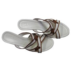 Cole Haan White & Brown Wedgie Sandals