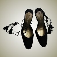 Spectacular Givenchy Black Suede Ankle Tie Heels