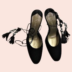 New Givenchy Black Fancy Black Suede Heels