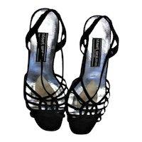 Stuart Weitzman Black Silk Strap Sandals