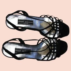 Pretty Stuart Weitzman Black Silk Fabric Heels