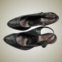 Black Leather 1950's Wing Tip Design Heels