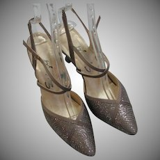 Light Coco Silk Silver Dot Heels