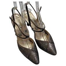Fancy Champagne Glitter Strap Heels
