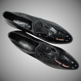 Black 1930's-40's Hour Glass Heels Leather Shoes