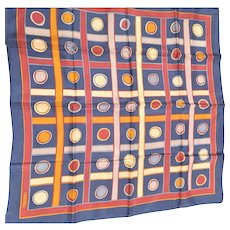 Signed Echo Squares & Circles In Navy & Rust Scarf