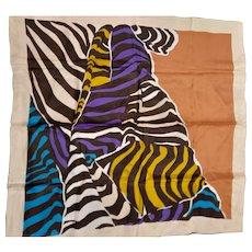 Colorful Zebra Print Silk Scarf