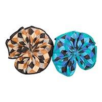 Two Silk Scarf Fan Type Pins