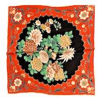 Silk Unhemed Scarf With Asian Influence