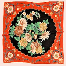 Silk Unhemed Scarf With Asian Influence