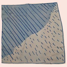 Signed Vera Blue & White Silk Scarf