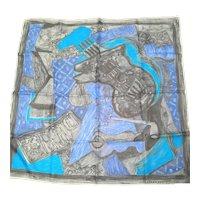 Picasso Like Italian Designer Seta Pura Signed Silk Scarf