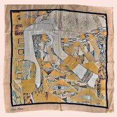 Signed Bill Blass Silk Klimt Like Designed Silk Scarf