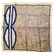 Ocean Themed Silk Signed Bill Blass Silk Scarf