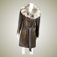 Vintage Brown Leather With Fox Collar Three Quarters Coat