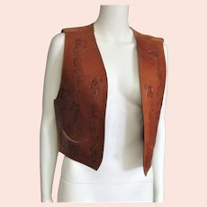 Wonderful Hand Tooled Gerard by PeGe Label Leather Vest
