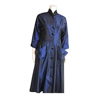 Outstanding Blue Taffeta Circle Skirt Dress