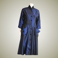 Outstanding Blue Taffeta Circle Skirt Dress