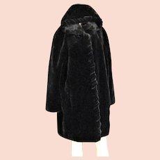 Major Designer Marvin Richards Faux Black Fur Coat