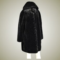 Major Designer Marvin Richards Faux Black Fur Coat