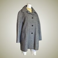 Beautiful 100% Wool Black Tweed Car Coat