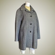 Beautiful 100% Wool Black Tweed Car Coat