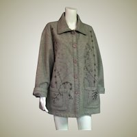 Darling Fall Gray Jacket With Embroidery