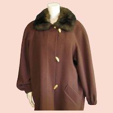 Anne Klein 11 100% Brown Wool Coat