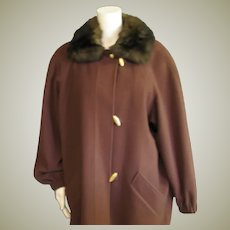 Anne Klein 11 100% Brown Wool Coat