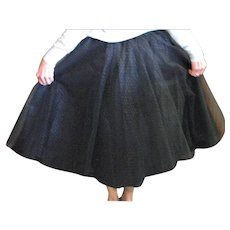 Vintage Stunning Black Taffeta & Net Circle Skirt