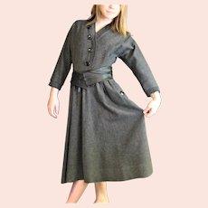 Gray Wool Full Skirt Dress