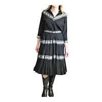 1950's Black, Silver & Turquoise Square Dance Dress