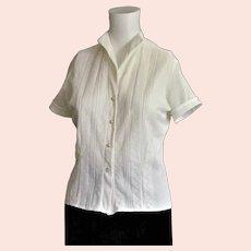 1950's White Nylon Button Front Blouse