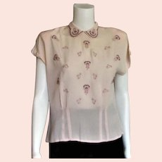 Spectacular 1950's Pink Embroidered Blouse