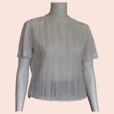 1950's Nylon White Lace Front Blouse