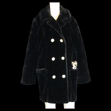 Lovely Vintage Susan Lynn Black Faux Fur Coat