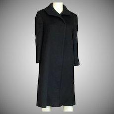 Lovely Vintage Long Navy Blue Wool Coat