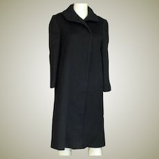 Lovely Vintage Long Navy Blue Wool Coat