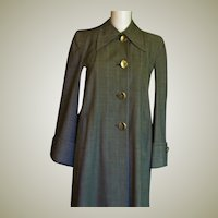 Wonderful 1940's Plaid Wool Long Coat