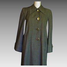 Wonderful 1940's Plaid Wool Long Coat