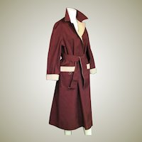 Elienne Aigner Reversible All Weather Coat In Maroon & Khaki