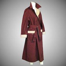 Elienne Aigner Reversible All Weather Coat In Maroon & Khaki
