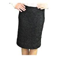 Black 1960's Slim Ribbon Trim Fabric Skirt