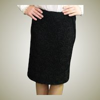 Black Vintage Ribbon Fabric Straight Skirt